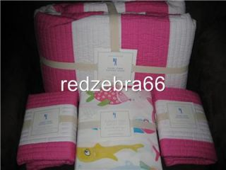 Pottery Barn Kids Girl Pink Rugby Stripe Full Quilt Sham Funny Fish Sheet Set 7p