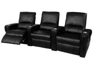Pallas Home Theater Seating 3 Leather Manual Seats Black Chairs