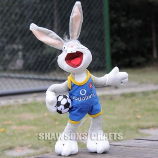"Looney Tunes Bugs Bunny Plush Stuffed Toy 12"" Soft Rabbit in Man UTD Blue Shirt"