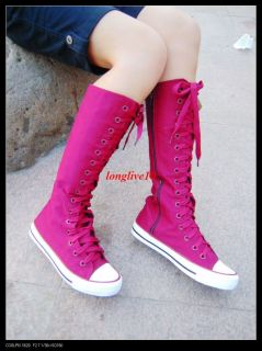 Girls Kids Ladies Canvas Sneakers Flat Tall Punk Casual Lace Up Knee High Boots