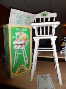 "1986 Vintage Cabbage Patch Kids Doll Wooden 26"" inch High Chair 100 w Box RARE"