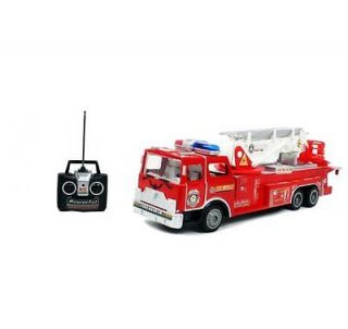 "New Radio Control R C 17"" Rescue Fire Engine Truck Remote Kids Toy w Extendin"