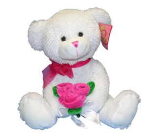 "14"" Teddy Bear Gift Plush Holding Pink Velvety Roses White New"