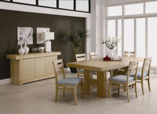 Dabny Casual Dining Table 8 Piece Ash Hardwood Fence Chairs