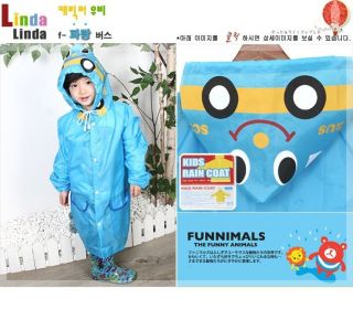 Cartoon Baby Children Kid Boy Girl Hooded Rain Coat Raincoat Jacket 5 Colors