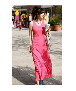 New Women's Fahion Casual Round Neck Solid Casual Full Long Maxi Vest Sun Dress