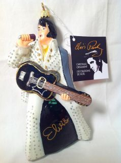 Kurt Adler Christmas Ornament Polonaise Elvis Presley with Guitar in White Suit