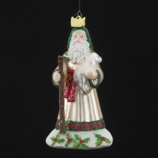 Kurt Adler Christmas Noble Gems Glass Santa with Sheep