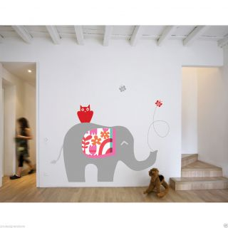 Elephant Theme Wall Decal Stickers Bedroom Kids Child Boy Animal Safari Zoo