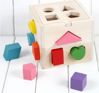 Baby's Wooden Educational Shape Block Sorting Learning Sorter Box Kids Toy Set
