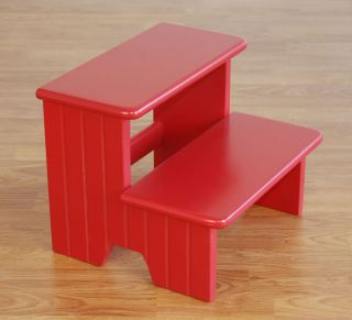 Kids Carved Red Wood Step Stool Boys Girls Sturdy Cute