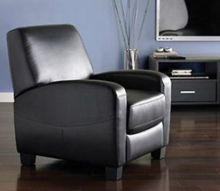 New Black Faux Leather Reclining Accent Arm Chair Recliner Living Room Club Seat
