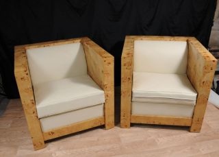 Pair Art Deco Box Club Chairs Armchairs Sofa Seat Modernist