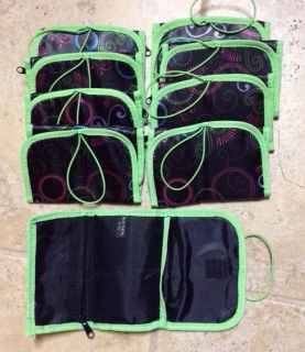 Lot of 9 U Kotex Pack Zipper Tri Fold Pouch Reg Tampons Liner Pad Black Green