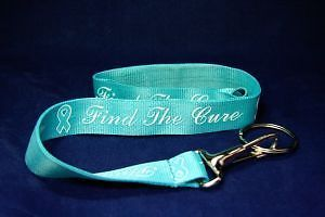 Uterine Cervical Ovarian Cancer Awareness Teal Ribbon ID Badge Lanyard Keyholder