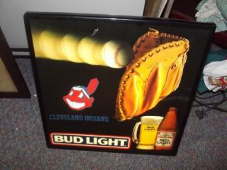 "Vintage Cleveland Indians Budweiser Beer Sign Lighted Bar Sign 18x18"" Bud Light"