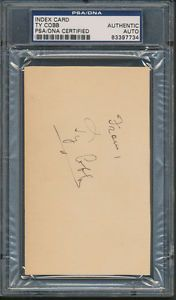 Ty Cobb Index Card PSA DNA Certified Authentic Auto Autograph Signed 7734