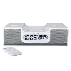 iHome IH8 Dual Alarm Clock Radio iPod Speaker System Docking Station White Touch