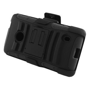Black Rugged Hybrid Case Belt Clip Holster Stand for Nokia Lumia 521 520 Phone