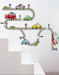 Car Race Track Baby Kids Boys Childrens Nursery Home Bedroom Decor Wall Sticker