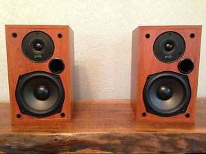Polk R15 Pair Stereo HiFi Home Theater Surround Speakers Cherry Wood Finish Faux
