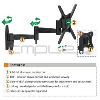 "Anti Theft Full Motion Wall Mount for 17"" 37"" LED 3D LED Thin LCD TV'S"