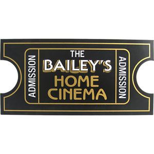 Home Cinema Ticket Personalized Home Theater Decor Wood Sign Man Cave Pool Room