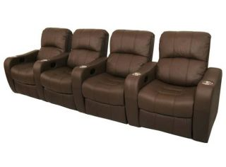 Newport Home Theater Seating 4 Brown Recliner Chairs