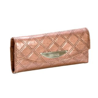 Kenneth Cole Reaction Women Ladies Bronze Clutch Diamond Patent Quilted Wallet