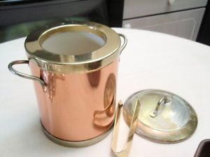 Copper and Brass Ice Bucket with Tongs