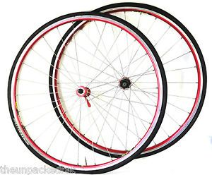 Mavic Helium Road Bike Wheel Rim Set 700c Clincher Sup Anodized Red Hubs 6000