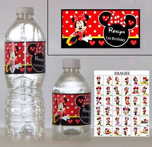 20 Minnie Mouse Red Polka Birthday Personalized Gloss Water Bottle Labels Favors