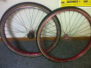 Vintage Araya 26 inch Cruiser 1981 Wheel Set Rims Sunshine SEALED Hubs NR BMX