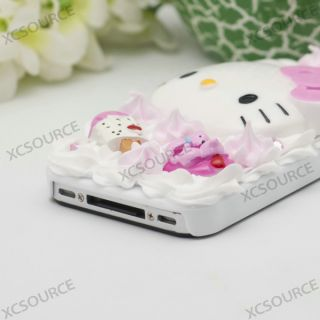 Bling Creme Clay Jewel Rose Hello Kitty Cake Back Case for iPhone 4 4S 4G PC158
