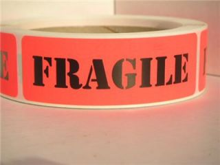 Fragile Warning Stickers Labels Red Orange Bkgd