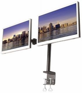 Horizontal Dual Monitor Double LCD Dual Desk Mount Stand Heavy Duty Adjustable
