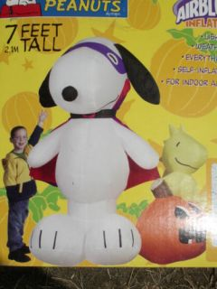 RARE Gemmy 7' Lighted Halloween Peanuts Snoopy Woodstock Airblown Inflatable