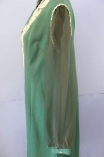 Antique Traditional Yemenite Yemen Green SHIFFON Caftan Crepe Dress Museum Item
