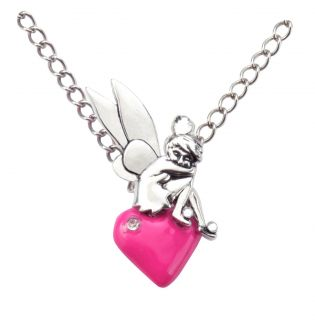 Disney Silver Tone Tinkerbell on Pink Enamel Heart Pendant Necklace