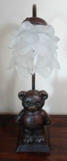 Vintage Figural Brass Bronze Teddy Bear Lamp Light Ruffled Victorian Shade Cute