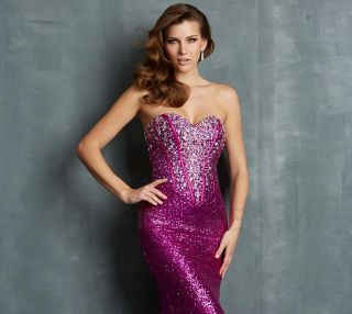 Mermaid Sweetheart Beading Sequin Long Fuchsia Evening Dress Ball Gown Custom