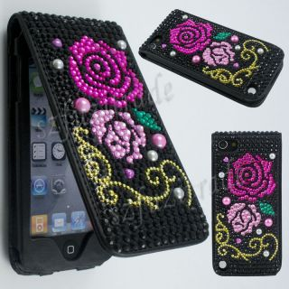 Pearl Diamond Bling Rhinestones Wallet Leather Case Cover for Apple iPod Touch 5