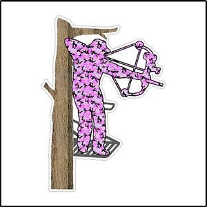Female Bow Hunter Tree Stand Deer Turkey Hunting Car Window Laptop Pink Decal