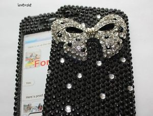 iPhone 4 4G 4S 3D Diamond Bling Case Cover Black White Silver Bedazzled Bow