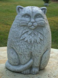 Art Deco Cast Stone Cat Concrete Cement Lawn Garden Statue Antiqued White