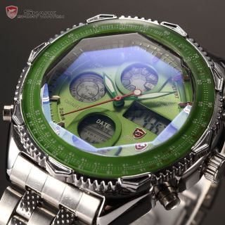 Shark Hot Deals Green LCD Date Stopwatch Men Stainless Steel Quartz Sport Watch