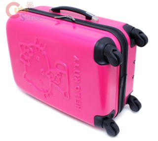 "Sanrio Hello Kitty Luggage Trolley Bag ABS 20"" Hard Case Emblems Hot Pink"