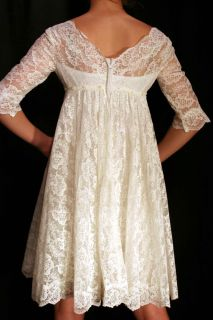 Sz XS Vtg 70s White Floral Lace Train Ultra Mod Wedding Empire Mini Dress