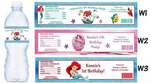 Ariel The Little Mermaid Printed Water Bottle Labels Birthday Party Favors