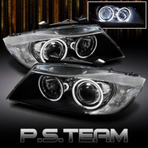 05 08 BMW E90 3 Series Dual CCFL Halo Projector Black Headlights Lights Lamps